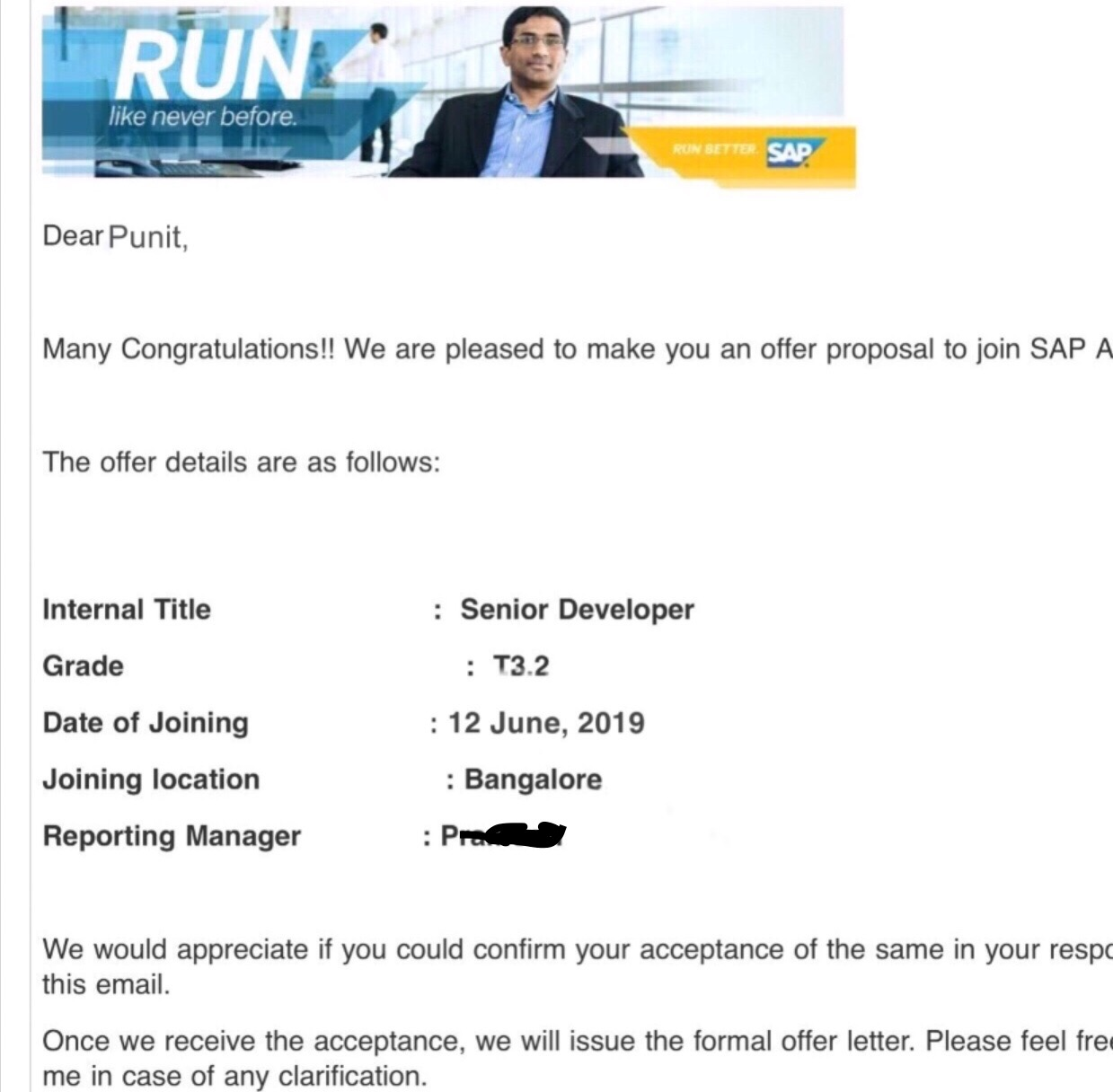 Punit placed in SAP Ariba