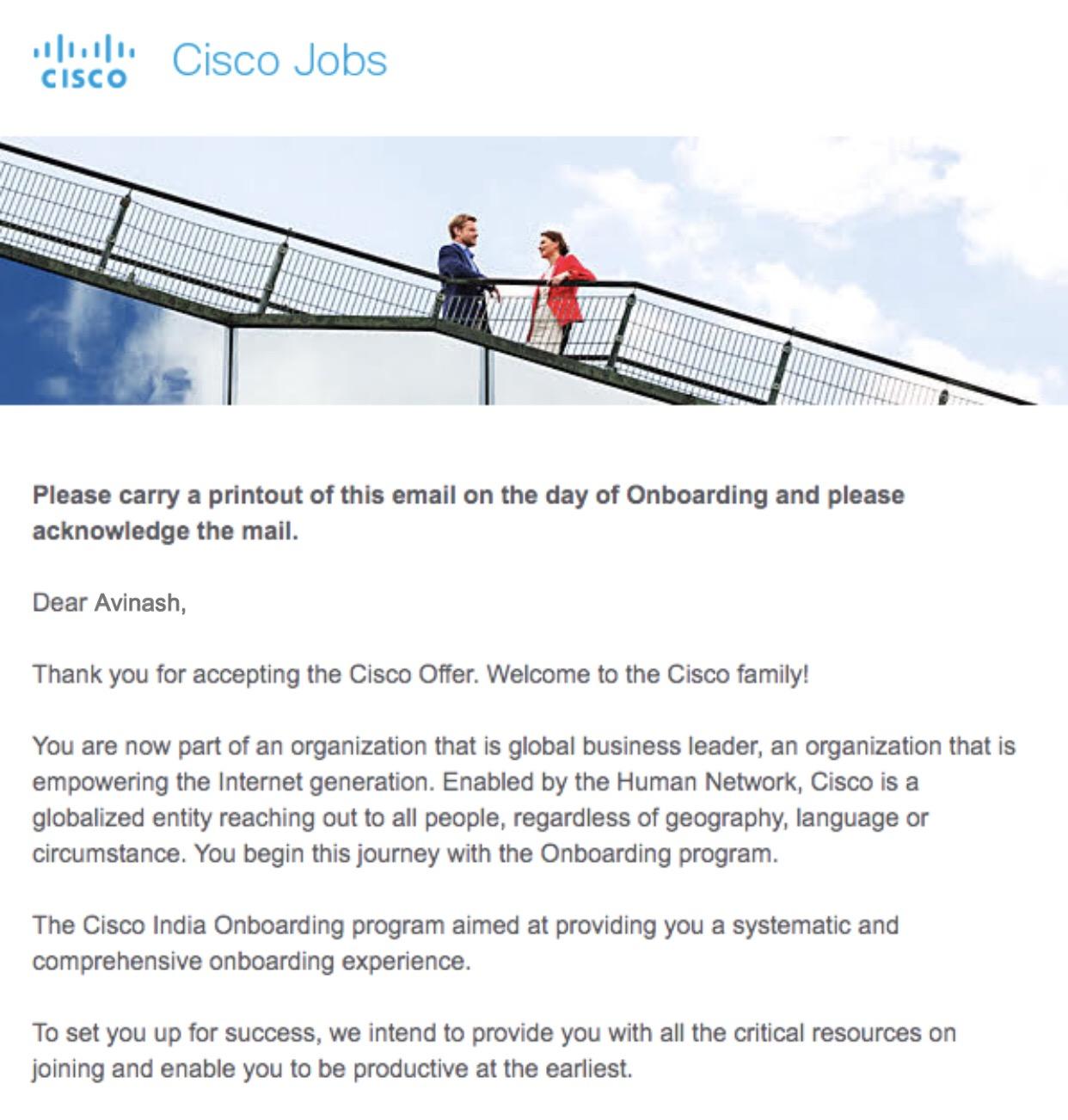 Avinash Placed in Cisco